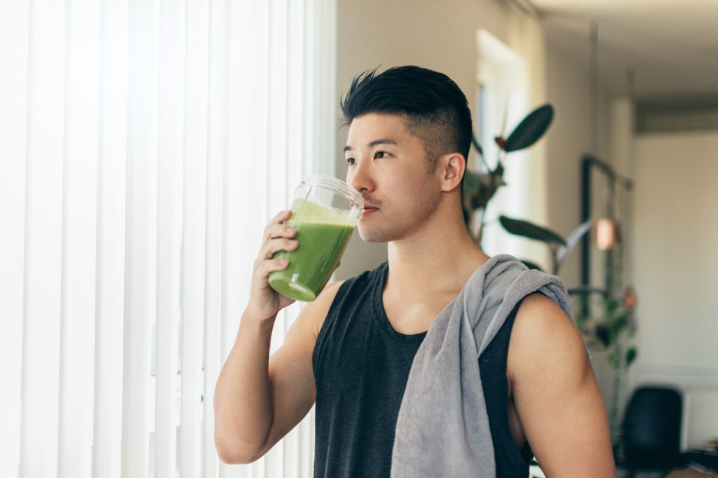 Man Drinking Protein Shake for hydration and sarcopenia prevention