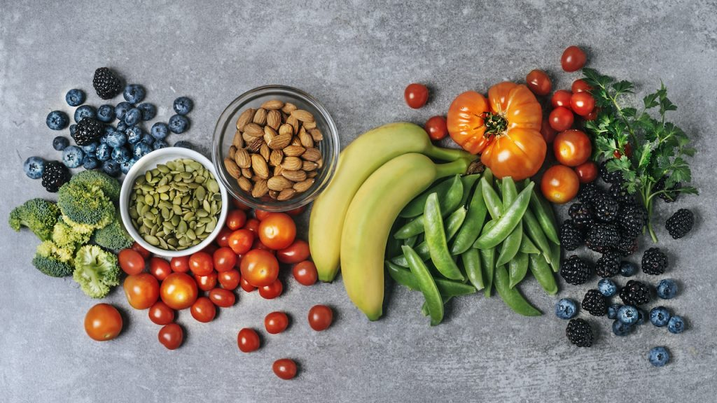 Fresh vegetables, fruits, and nuts for immune function